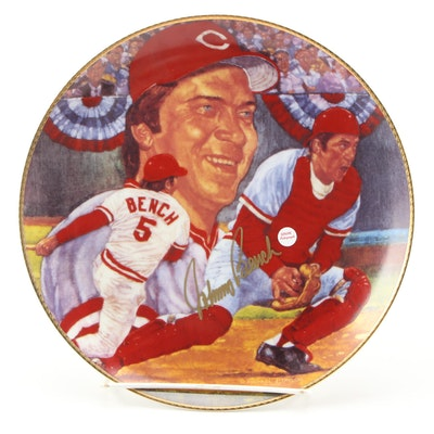 """Johnny Bench Signed """"Fame at the Plate"""" Gartlan Plate with Packaging and COA"""