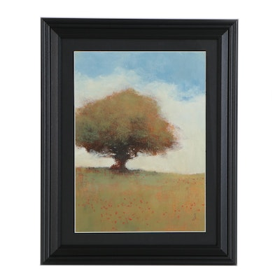SJ Studio Landscape Oil Painting with Tree, 21st Century