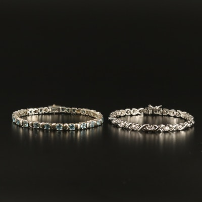 Sterling Silver Topaz and Diamond Bracelets