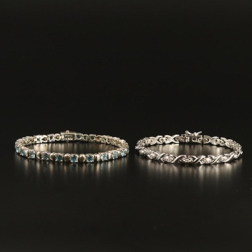 Sterling Silver Topaz and Diamond Bracelets