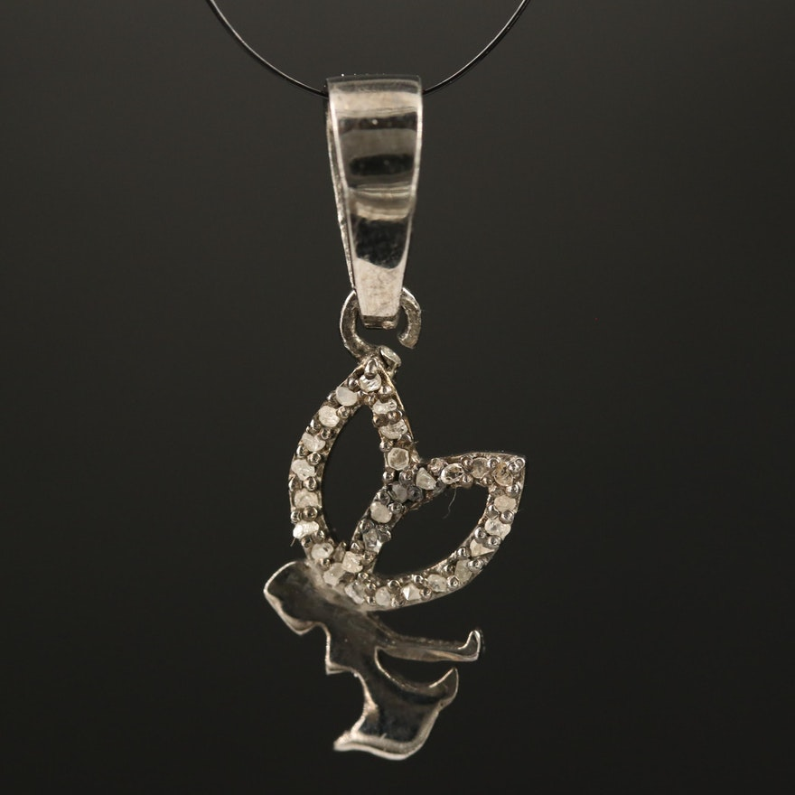 Sterling Silver Diamond Fairy Motif Pendant
