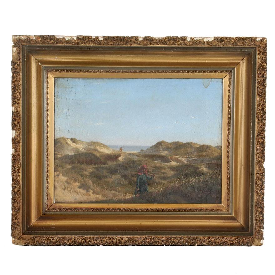 Coastal Landscape Oil Painting, 20th Century