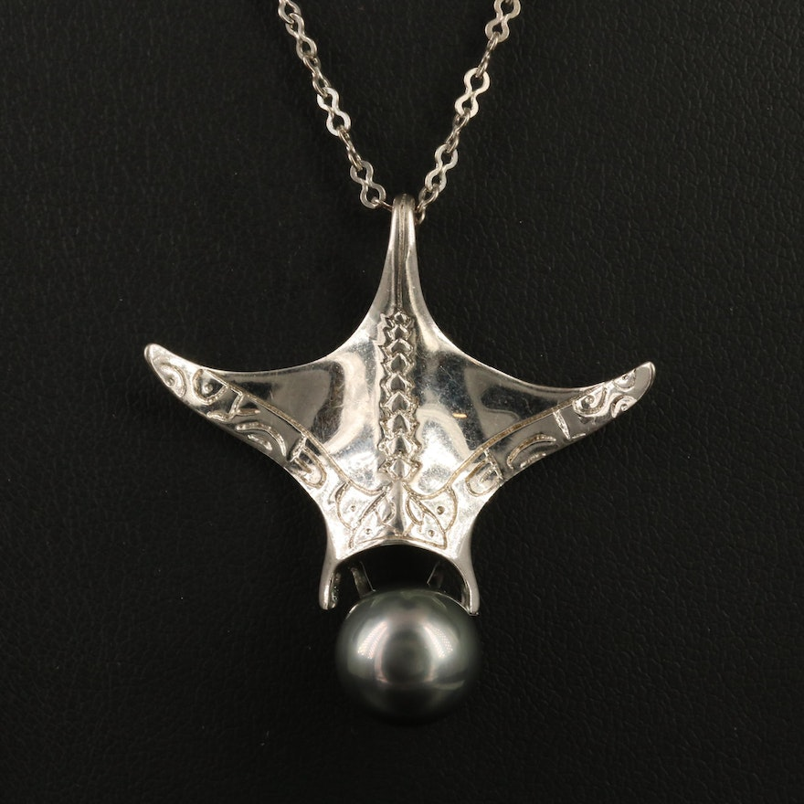 Sterling Silver Pearl Stylized Manta Ray Necklace