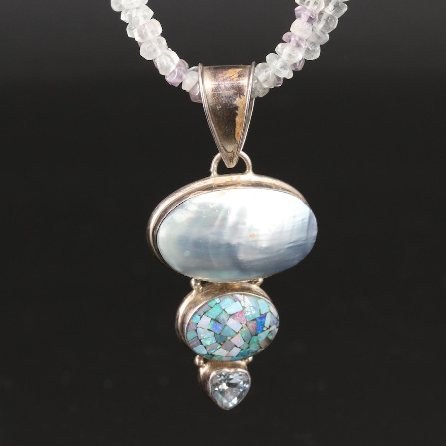 Sterling Silver Topaz, Rainbow Moonstone and Opal Mosaic Necklace