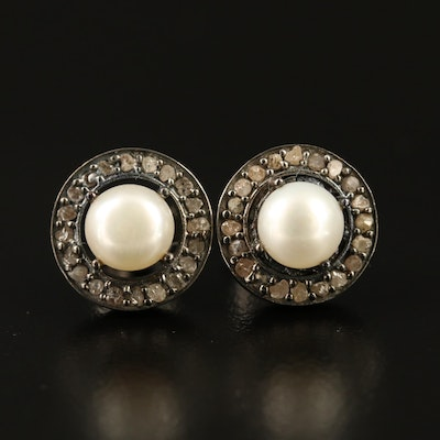 Sterling Silver Pearl and Diamond Stud Earrings