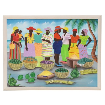 "Louis Jacques Haitian Folk Art Acrylic Painting from ""Beach Market"" Series, 1992"
