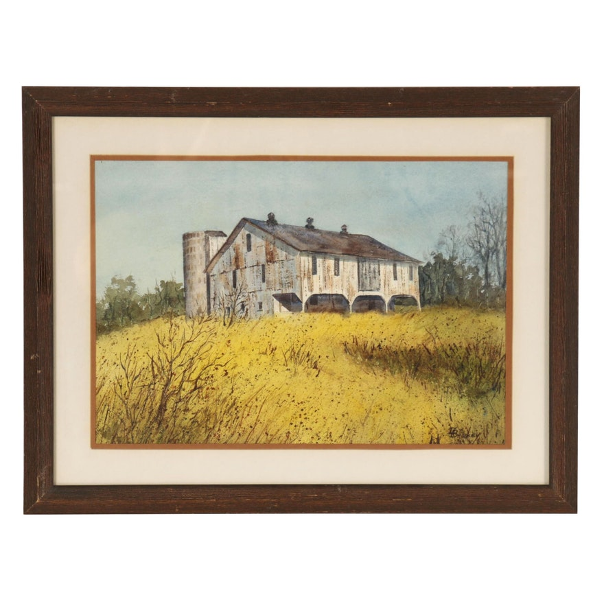 Doris Brookey Watercolor Painting of a Barn, Late 20th Century