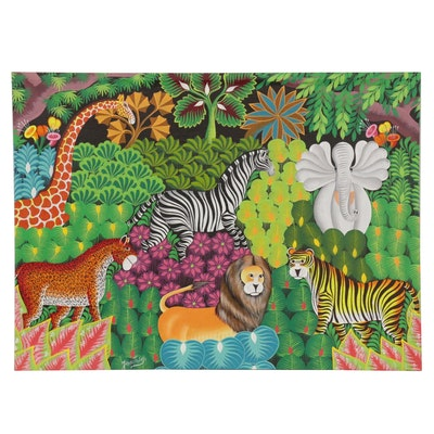 Joel Gauthier Haitian Folk Art Acrylic Painting of Animals
