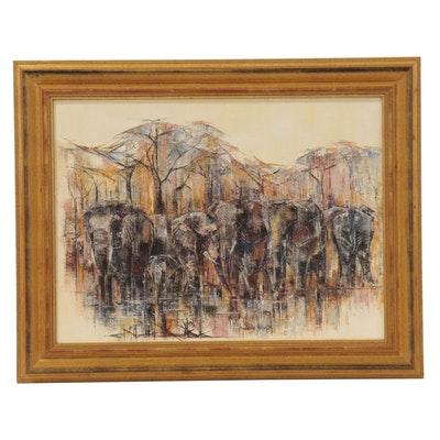 Frederike Stokhuyzen Abstract Oil Painting of Elephants, 1976