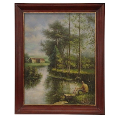 Maitland-Smith Pond Landscape Oil Painting