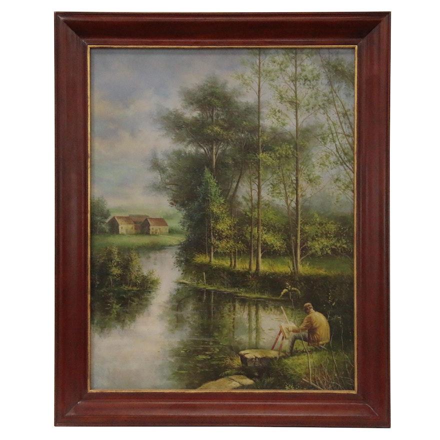 Maitland-Smith Pond Landscape Oil Painting