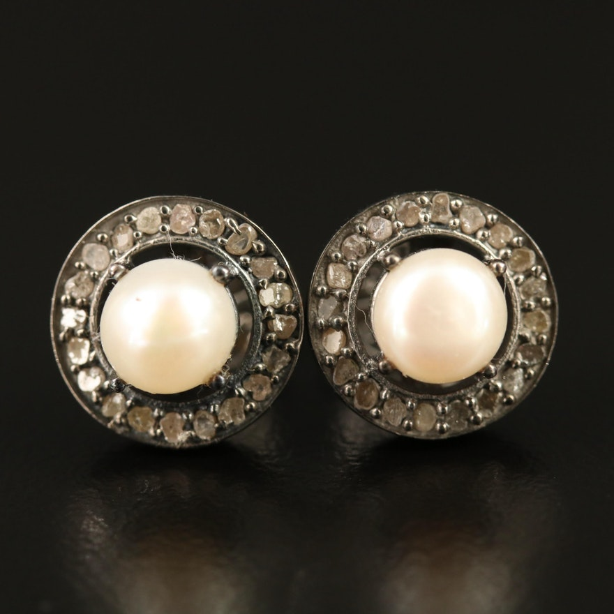Sterling Silver Pearl and Diamond Halo Earrings