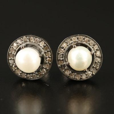 Sterling Silver Pearl Stud Earrings with Diamond Halos