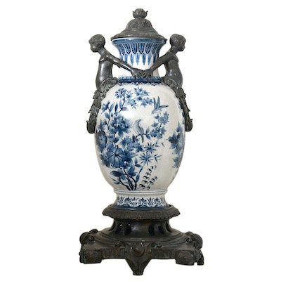 Delft Style Metal-Mounted Porcelain Covered Urn
