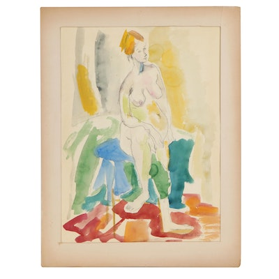Yolanda Fusco Watercolor Figure Study, Late 20th Century
