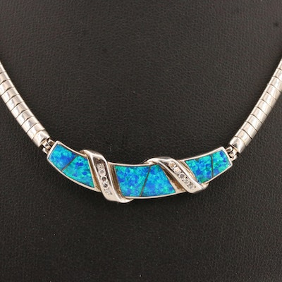Sterling Silver Opal Omega Choker Necklace