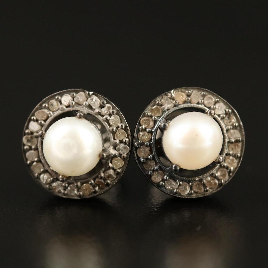 Sterling Silver Pearl and Diamond Stud Earrings