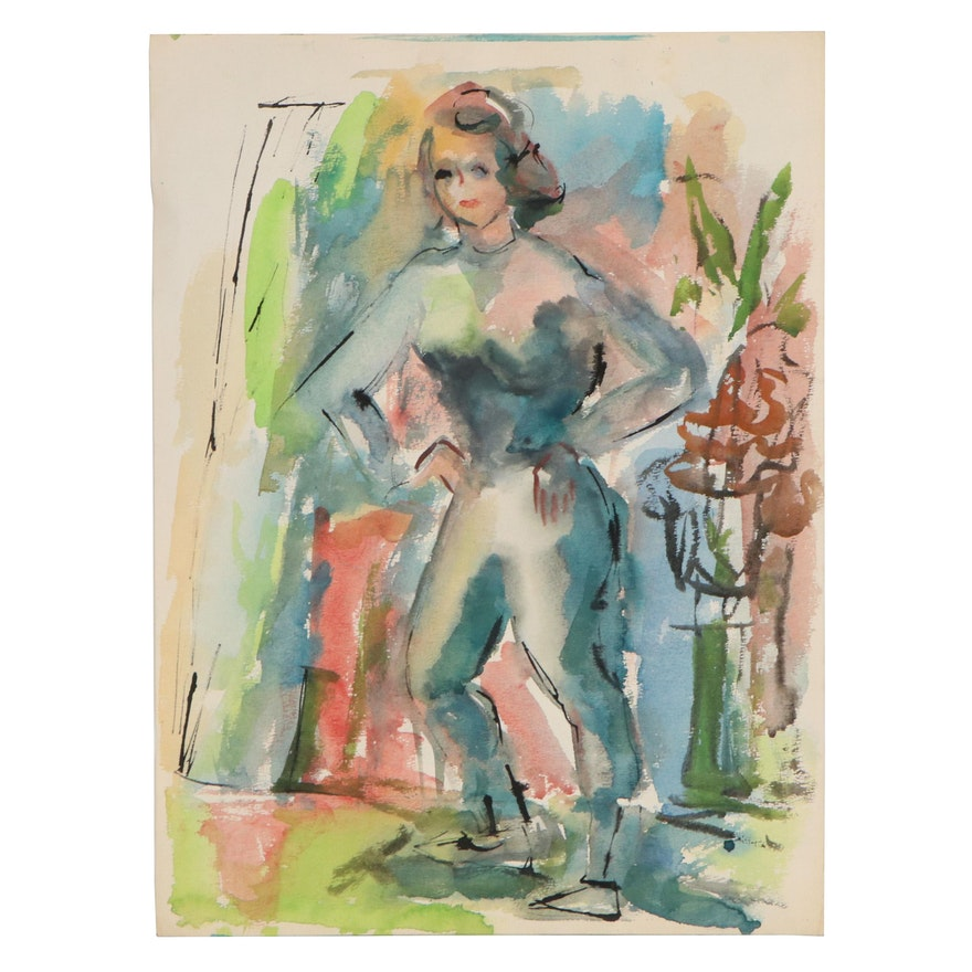 Yolanda Fusco Watercolor Figure Painting, Mid to Late 20th Century