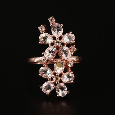 Sterling Silver Morganite Flower Cluster Ring