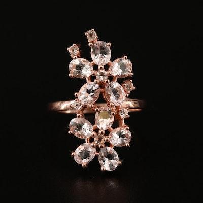 Sterling Silver Morganite Flower Cluster Ring