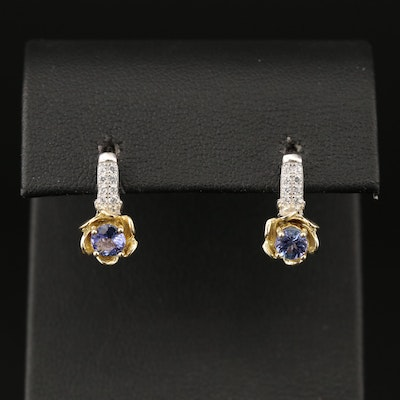 Sterling Silver Tanzanite and Cubic Zirconia Earrings