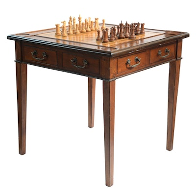 Accents Beyond Inlaid Wood Games Table With Chess Pieces