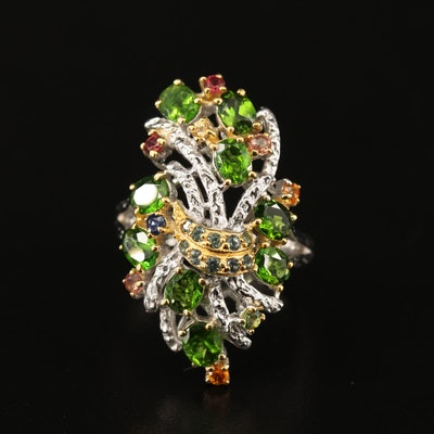 Sterling Silver Diopside, Sapphire and Topaz Cluster Ring