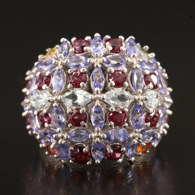 Sterling Silver Tanzanite, Garnet and Sapphire Bombé Ring