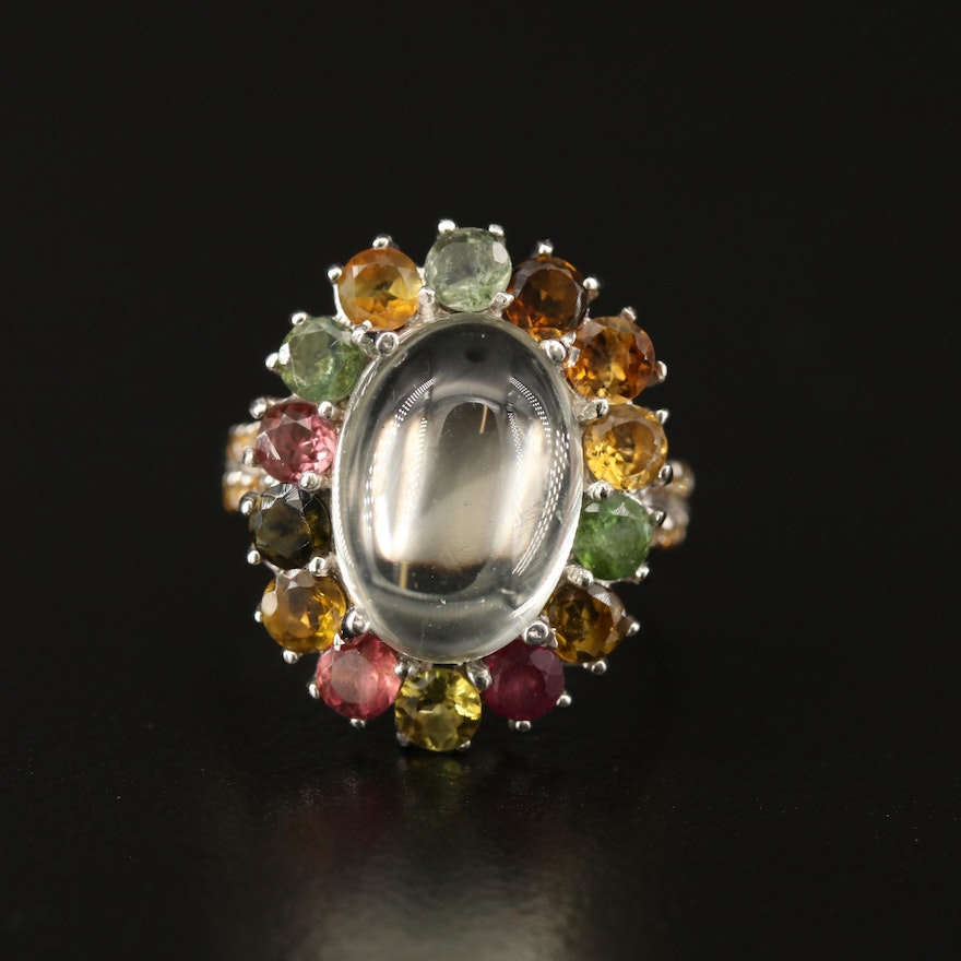 Sterling Silver Prasiolite, Tourmaline and Sapphire Halo Ring