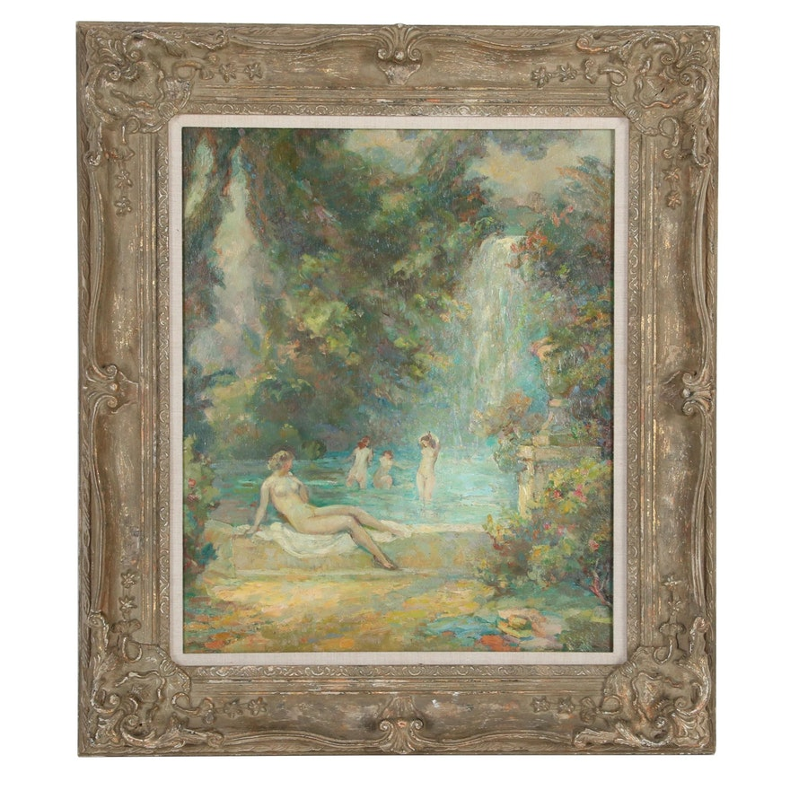 Impressionist Style Oil Painting of Forest Bathers, 20th Century