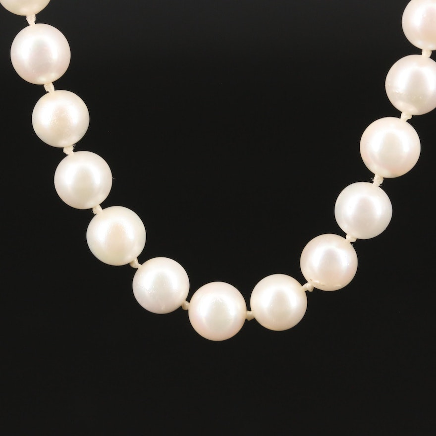 Hand Knotted Pearl Strand Necklace with 10K Scalloped Clasp