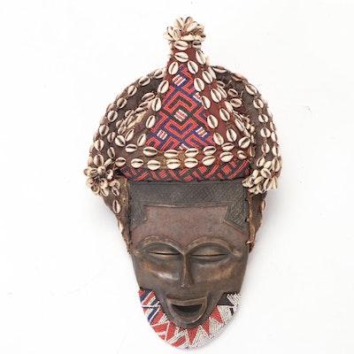 Kuba Style Embellished Carved Wood Mask, Democratic Republic of the Congo