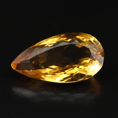Loose 27.51 CT Pear Faceted Citrine