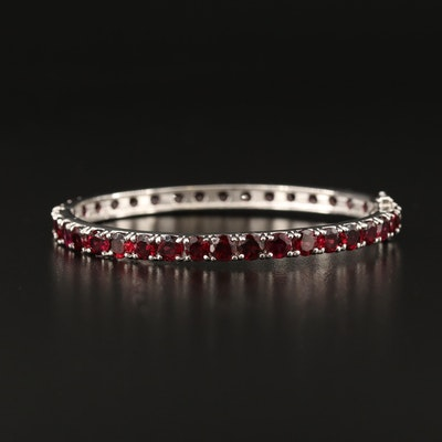 Sterling Silver Garnet Hinged Oval Bangle