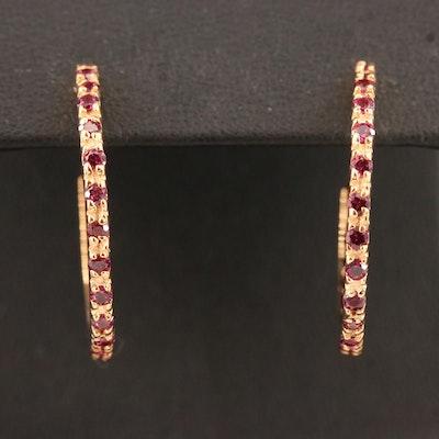 Sterling Garnet J-Hoop Earrings