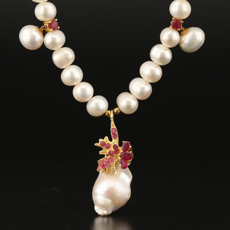 Sterling Pearl, Ruby and Corundum Drop Necklace