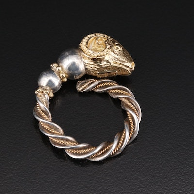 950 Silver Greek Ram's Head Torc Ring with Open Shank