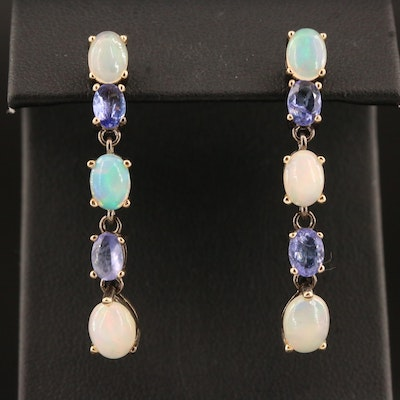 Sterling Opal and Tanzanite Dangle Earrings