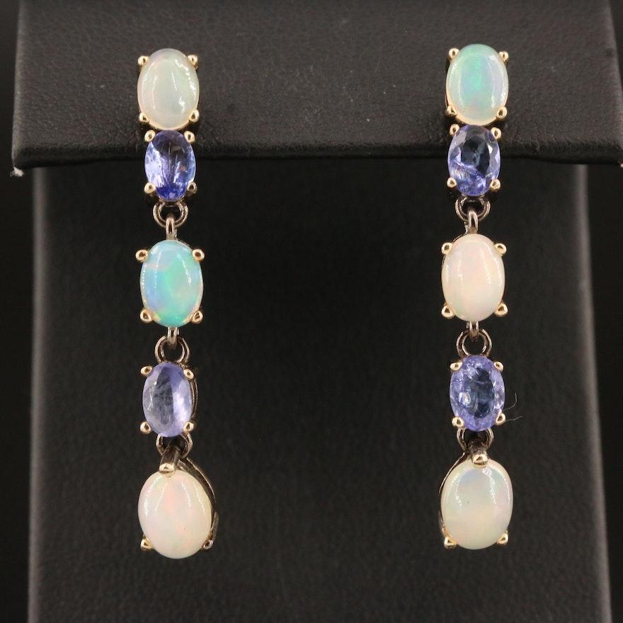 Sterling Opal and Tanzanite Dangle Earrings