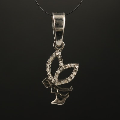Sterling Silver Diamond Pixie Motif Pendant