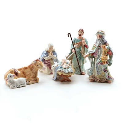 Fitz and Floyd Hand Crafted Ceramic Nativity Scene Figurines