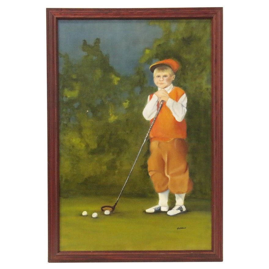 Oil Painting of Golfer Boy, Late 20th Century