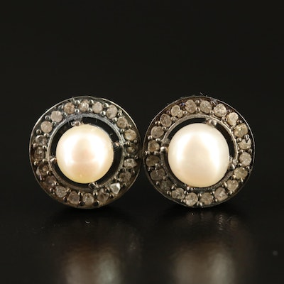 Sterling Silver Pearl and Diamond Earrings