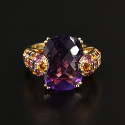 Sterling Silver Amethyst, Citrine and Rhodolite Garnet Ring