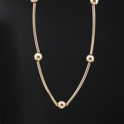 14K Bead and Bar Link Chain