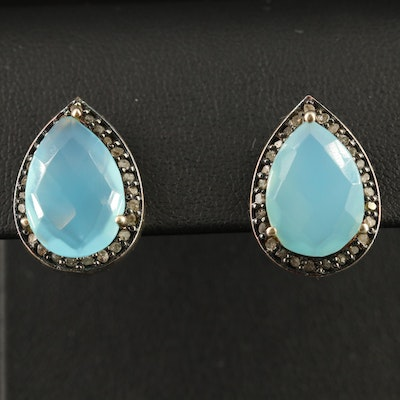 Sterling Silver Chalcedony and Diamond Teardrop Earrings