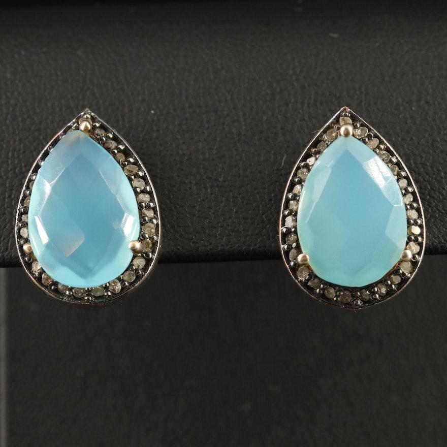 Sterling Silver Chalcedony and Diamond Teardrop Earrings