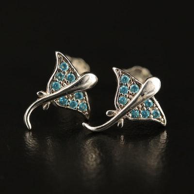 Sterling Silver Cubic Zirconia Ray Motif Stud Earrings