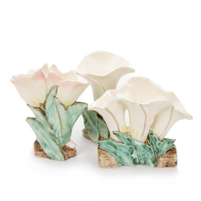 McCoy Calla Lilies and Double Tulip Art Pottery Vases, 1950s