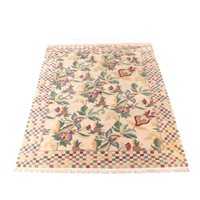 8'10 x 12'6 Hand-Knotted Carved Floral Wool Rug